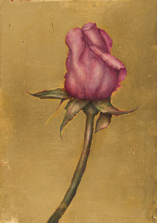 Rose - Mixed technique: pencil, pastel, gold leaf