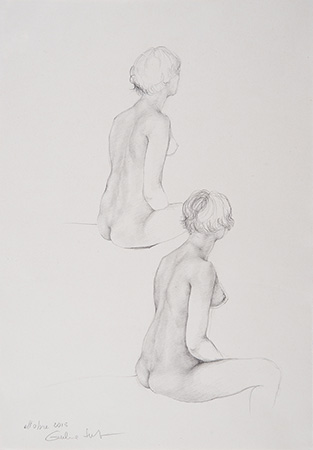 Double Nude - 33 x 23 – Technique: silverpoint drawing (2015)