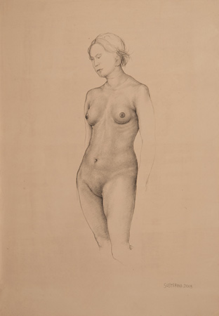 Nude - 33 x 23 - Technique: silverpoint drawing (2015)